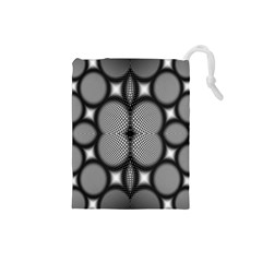 Mirror Of Black And White Fractal Texture Drawstring Pouches (Small)