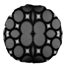 Mirror Of Black And White Fractal Texture Large 18  Premium Flano Round Cushions