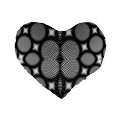 Mirror Of Black And White Fractal Texture Standard 16  Premium Flano Heart Shape Cushions