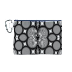 Mirror Of Black And White Fractal Texture Canvas Cosmetic Bag (M)