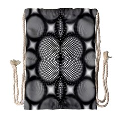 Mirror Of Black And White Fractal Texture Drawstring Bag (Large)