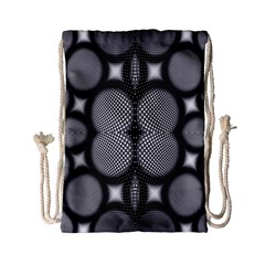 Mirror Of Black And White Fractal Texture Drawstring Bag (small)