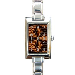 Fractal Pattern Of Fire Color Rectangle Italian Charm Watch