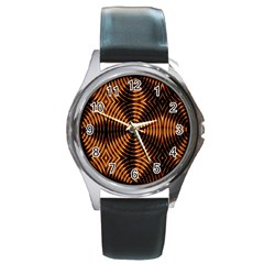 Fractal Pattern Of Fire Color Round Metal Watch