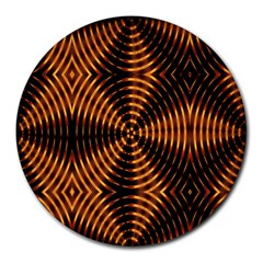 Fractal Pattern Of Fire Color Round Mousepads