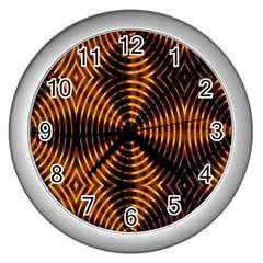 Fractal Pattern Of Fire Color Wall Clocks (Silver)