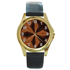 Fractal Pattern Of Fire Color Round Gold Metal Watch