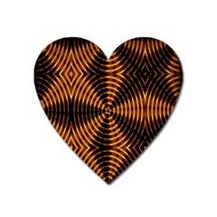 Fractal Pattern Of Fire Color Heart Magnet