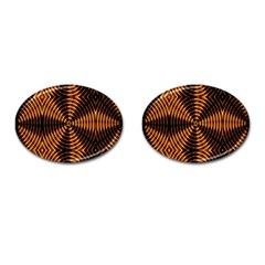 Fractal Pattern Of Fire Color Cufflinks (Oval)