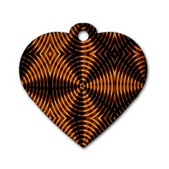 Fractal Pattern Of Fire Color Dog Tag Heart (one Side)