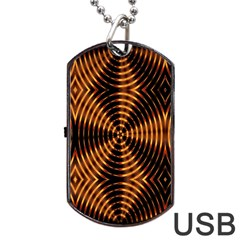 Fractal Pattern Of Fire Color Dog Tag USB Flash (Two Sides)