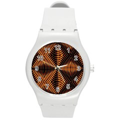 Fractal Pattern Of Fire Color Round Plastic Sport Watch (M)