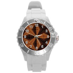 Fractal Pattern Of Fire Color Round Plastic Sport Watch (l)