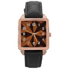 Fractal Pattern Of Fire Color Rose Gold Leather Watch