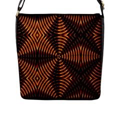 Fractal Pattern Of Fire Color Flap Messenger Bag (L)