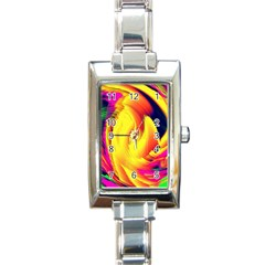 Stormy Yellow Wave Abstract Paintwork Rectangle Italian Charm Watch