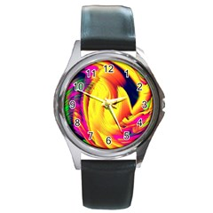 Stormy Yellow Wave Abstract Paintwork Round Metal Watch