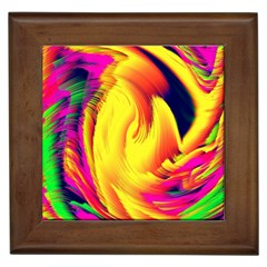 Stormy Yellow Wave Abstract Paintwork Framed Tiles