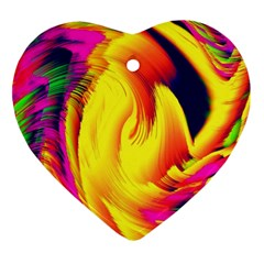 Stormy Yellow Wave Abstract Paintwork Ornament (heart)