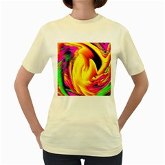 Stormy Yellow Wave Abstract Paintwork Women s Yellow T Shirt