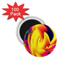 Stormy Yellow Wave Abstract Paintwork 1.75  Magnets (100 pack)