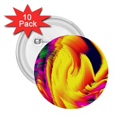 Stormy Yellow Wave Abstract Paintwork 2 25  Buttons (10 Pack)