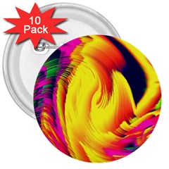 Stormy Yellow Wave Abstract Paintwork 3  Buttons (10 pack)