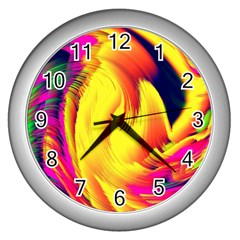 Stormy Yellow Wave Abstract Paintwork Wall Clocks (silver)