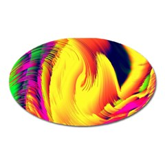 Stormy Yellow Wave Abstract Paintwork Oval Magnet