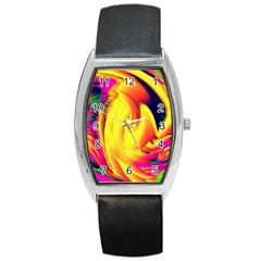 Stormy Yellow Wave Abstract Paintwork Barrel Style Metal Watch