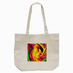 Stormy Yellow Wave Abstract Paintwork Tote Bag (Cream)