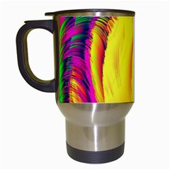 Stormy Yellow Wave Abstract Paintwork Travel Mugs (white)