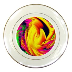 Stormy Yellow Wave Abstract Paintwork Porcelain Plates