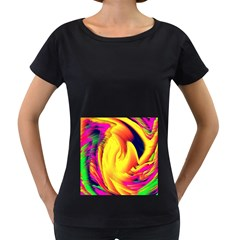 Stormy Yellow Wave Abstract Paintwork Women s Loose Fit T Shirt (black)