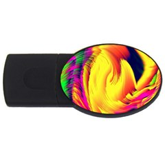 Stormy Yellow Wave Abstract Paintwork USB Flash Drive Oval (4 GB)