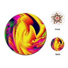 Stormy Yellow Wave Abstract Paintwork Playing Cards (Round)