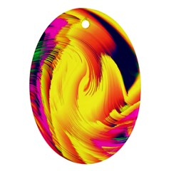 Stormy Yellow Wave Abstract Paintwork Oval Ornament (two Sides)