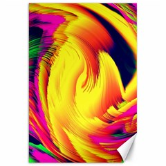 Stormy Yellow Wave Abstract Paintwork Canvas 20  X 30