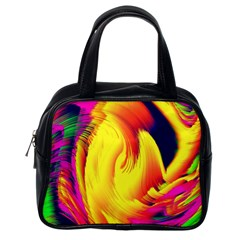 Stormy Yellow Wave Abstract Paintwork Classic Handbags (one Side)