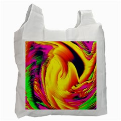 Stormy Yellow Wave Abstract Paintwork Recycle Bag (one Side)