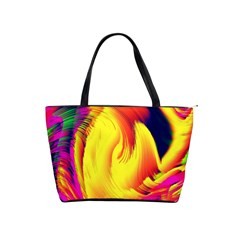 Stormy Yellow Wave Abstract Paintwork Shoulder Handbags