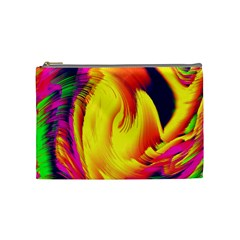 Stormy Yellow Wave Abstract Paintwork Cosmetic Bag (medium)