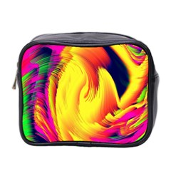 Stormy Yellow Wave Abstract Paintwork Mini Toiletries Bag 2 Side