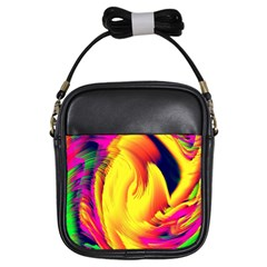 Stormy Yellow Wave Abstract Paintwork Girls Sling Bags