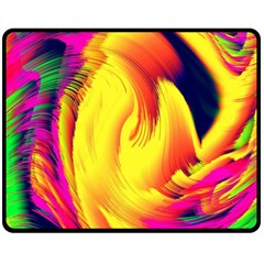 Stormy Yellow Wave Abstract Paintwork Fleece Blanket (Medium)