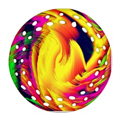 Stormy Yellow Wave Abstract Paintwork Round Filigree Ornament (two Sides)