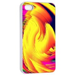 Stormy Yellow Wave Abstract Paintwork Apple iPhone 4/4s Seamless Case (White)