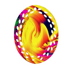 Stormy Yellow Wave Abstract Paintwork Oval Filigree Ornament (Two Sides)