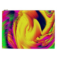 Stormy Yellow Wave Abstract Paintwork Cosmetic Bag (XXL)