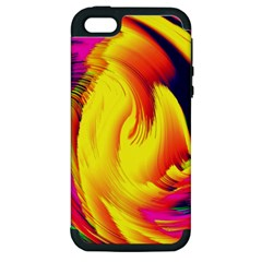Stormy Yellow Wave Abstract Paintwork Apple Iphone 5 Hardshell Case (pc+silicone)